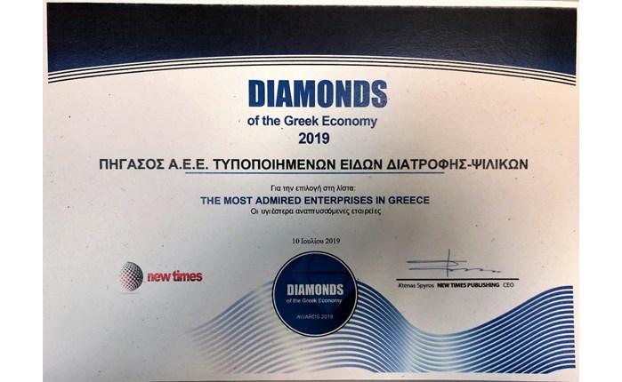 Πήγασος Α.Ε.: Διάκριση στα Diamonds of the Greek Economy Awards