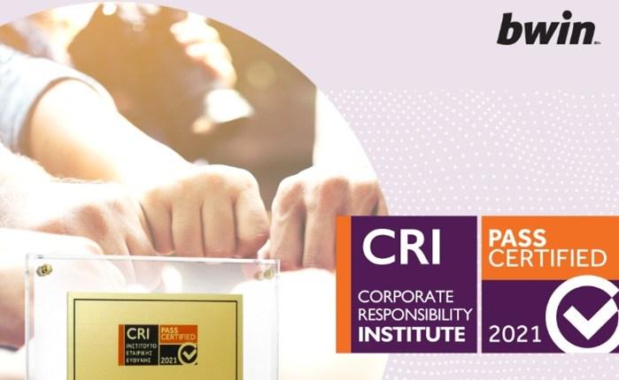 bwin: Νέα Διάκριση για το κοινωνικό αποτύπωμά της από το Ινστιτούτο Εταιρικής Ευθύνης (CRI)
