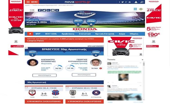 Novasports: Επιτυχής ο διαγωνισμός για τη Super League